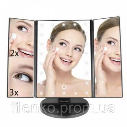 Косметическое зеркало для макияжа с подсветкой 22 Large LED Mirror Черное, фото 2
