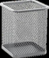 Підставка для ручок BM.6201-24 металева квадратна срібляста 80х80х95мм (24)