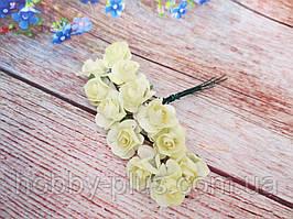 Роза бумажная, d 1,5 см, цвет МОЛОЧНЫЙ, 12 шт/упаковка