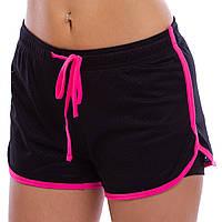 Шорты спортивные двойные женские VSX, PL, хлопок, S-L-40-70кг., розовый (CO-7174-(pnk))