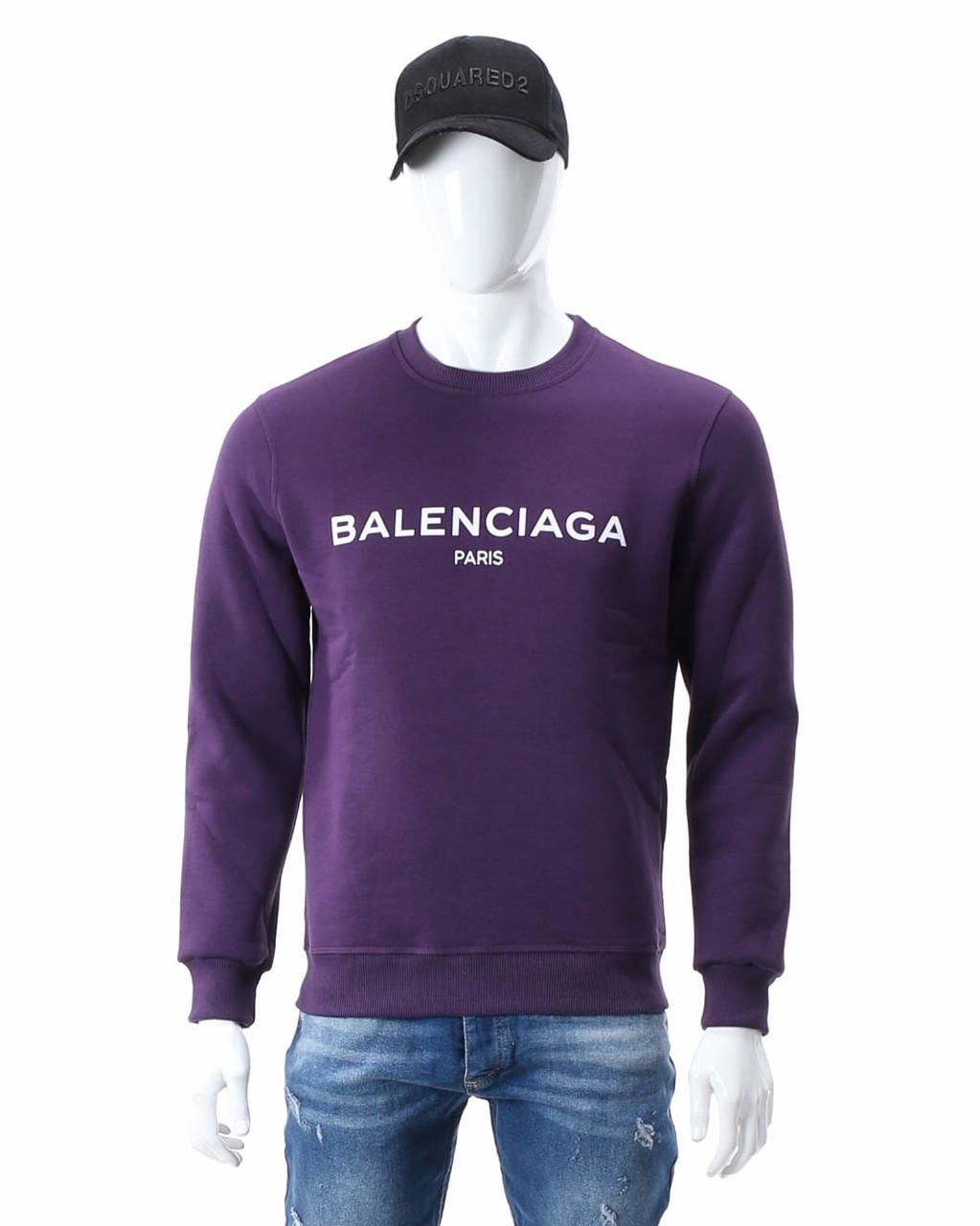 Свитшот осень-зима фиолетовый BALENCIAGA с лого PUR L(Р) 20-510-003