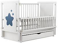 Кровать Babyroom Звездочка Z-03 (маятник, ящик, откидной бок)  бук белый