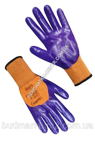 """Перчатки синтетические оранжевые с фиолетовым нитриловым покрытием 3/4 """"б"""""""