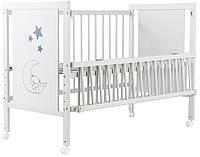 Кровать Babyroom Медвежонок M-01 (откидной бок, колеса) бук белый