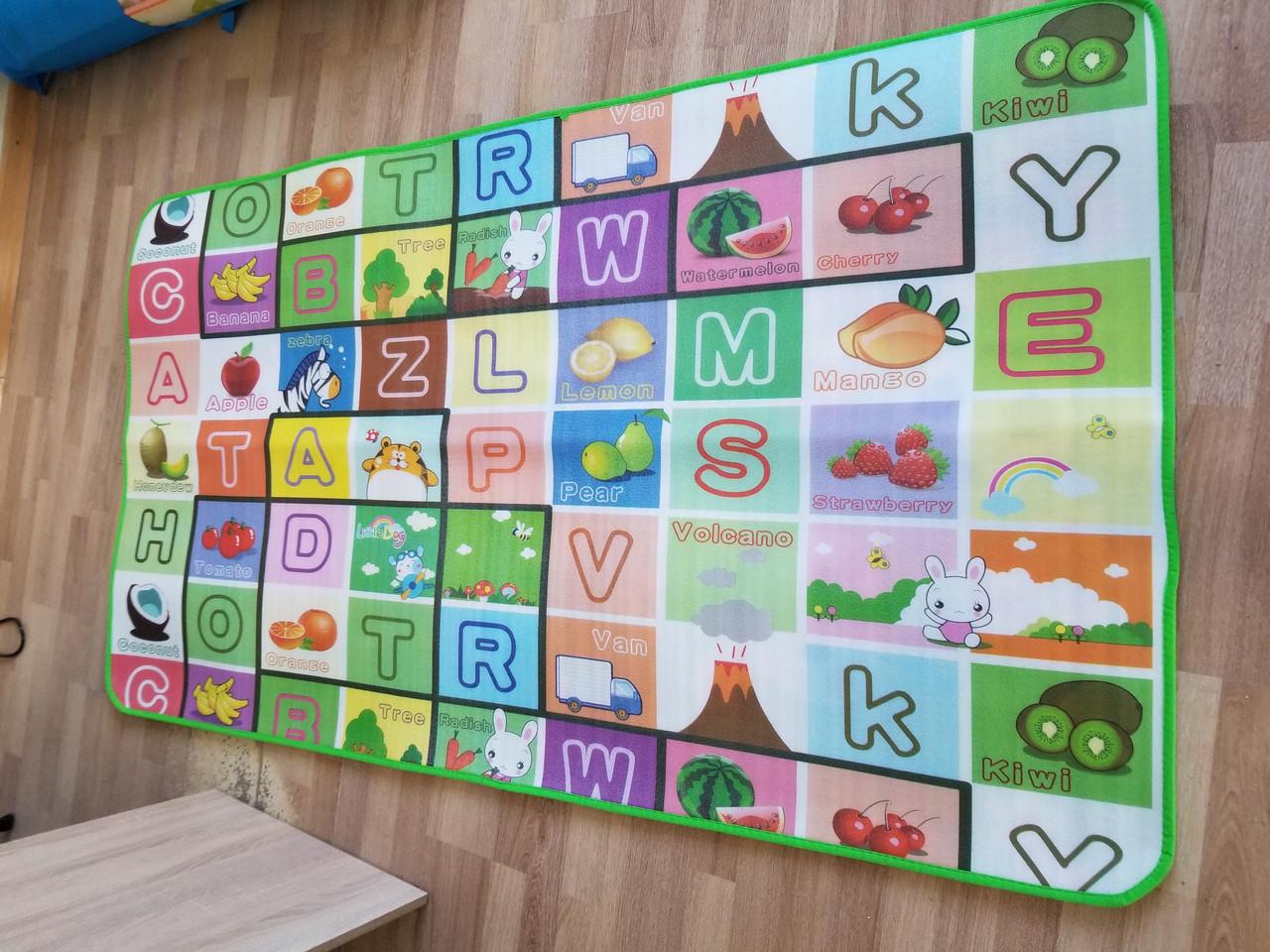 Детский напольный тканевый коврик Английский алфавит Животные Цифры игровой развивающий мягкий 5 мм, 2*1,8 м