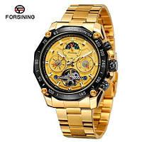 Наручные часы Forsining 6913 Gold-Black-Gold Механика с автоподзаводом