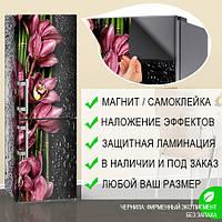 Наклейка на холодильник с орхидеями розовыми, магнитная 180 х 60 см, Лицевая