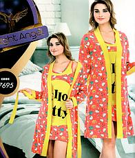 Комплекты халат и ночная рубашка качество хлопок с лайкра 44-48 р много моделей, фото 3