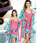 Комплекты халат и ночная рубашка качество хлопок с лайкра 44-48 р много моделей