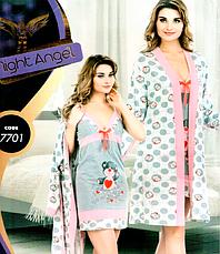 Комплекты халат и ночная рубашка качество хлопок с лайкра 44-48 р много моделей, фото 2