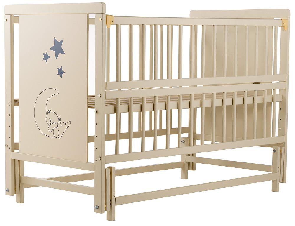 Кровать Babyroom Медвежонок M-02 (маятник, откидной бок) бук слоновая кость