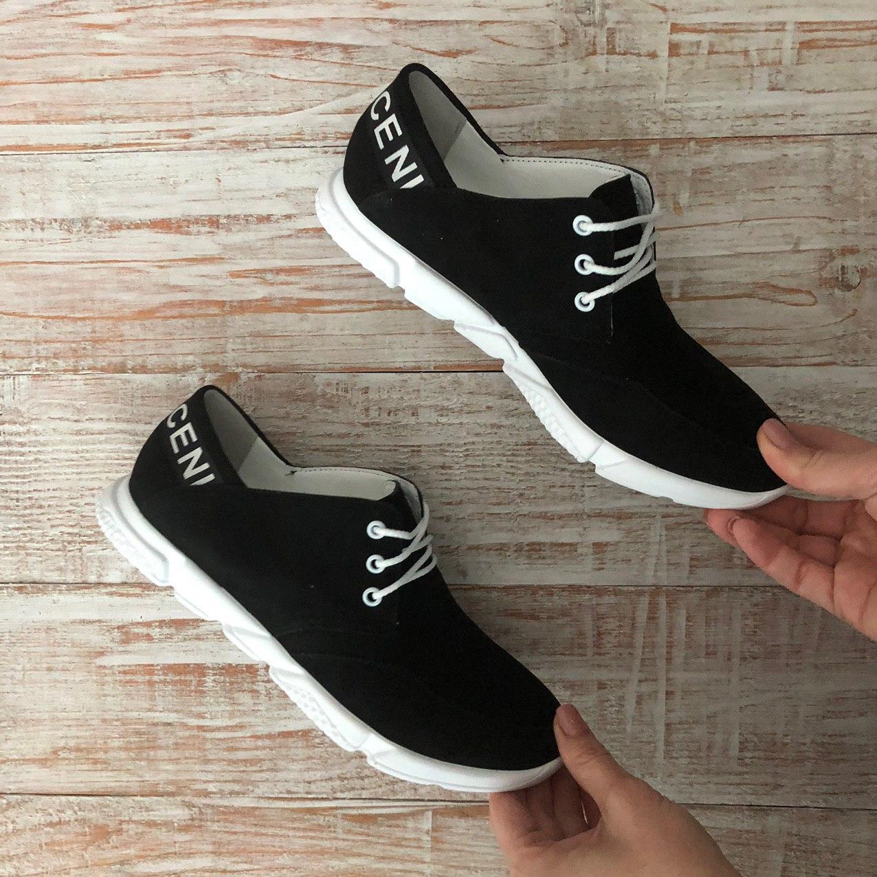 Слипоны женские кожаные+замш, черные со шнурками Miluchi 1797ч/б размеры 36,37,38,40,41