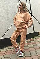 Женский темно-песочный модный костюм (оверсайз) Rocamoon