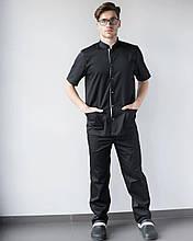 Медицинский мужской костюм черный с карманами размер 54
