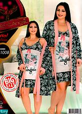 Комплект халат и ночная рубашка БАТАЛ 52-54 Night Angel много моделей, фото 2