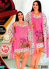 Комплект халат и ночная рубашка БАТАЛ 52-54 Night Angel много моделей, фото 3