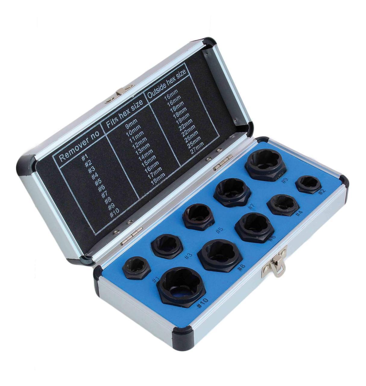 Набір низькопрофільних насадок для зірваних гайок 10 шт. SATRA S-TS10SH