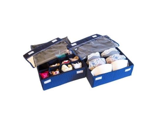 Комплект органайзеров для белья с крышками 2 шт Звездное небо