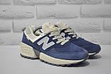 Замшеві чоловічі сині кросівки New Balance 574, фото 4