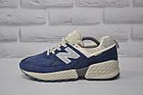 Замшеві чоловічі сині кросівки New Balance 574, фото 3