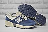 Замшеві чоловічі сині кросівки New Balance 574, фото 2