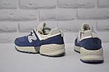 Замшеві чоловічі сині кросівки New Balance 574, фото 5