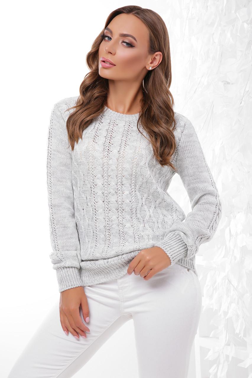 Женский стильный однотонный свитер фактурная вязка цвет