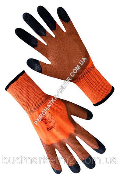 """Перчатки синтетические оранжевые с коричнево-черным вспененным латексным покрытием 3/4 """"б"""""""