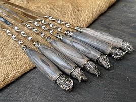 """Набір шампурів ручної роботи з дерев'яними ручками """"Мисливські"""" в шкіряному сагайдаку"""