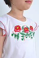 Нарядная футболка вышиванка для девочки с маками в белом цвете