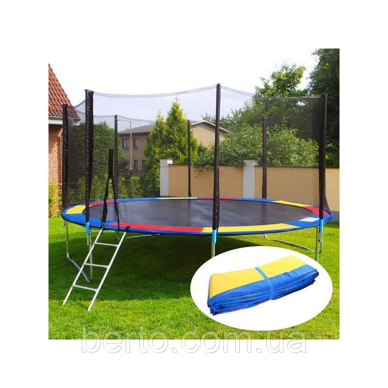 Батут JUST FUN MULTICOLOR 404см (13ft) диаметр с внешней сеткой спортивный для детей и взрослых