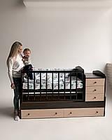 Дитяче ліжко трансформер з темною решіткою