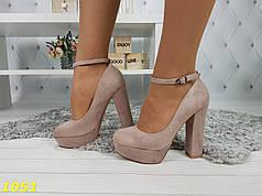 Туфли с застежкой на толстом каблуке пудровые в замше