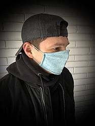 Захисна маска тришарова тканинна з лляної тканини