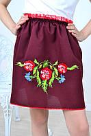 Красивая детская юбка вышитая полевыми цветами