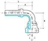 Ниппель DKL М36х2,0, под шланг dу=25 (угол 90 °), фото 3