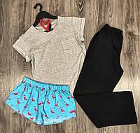 Хлопковая пижама тройка футболка+штаны+шорты.
