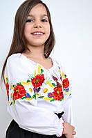 Праздничная детская сорочка вышиванка для девочки с маками