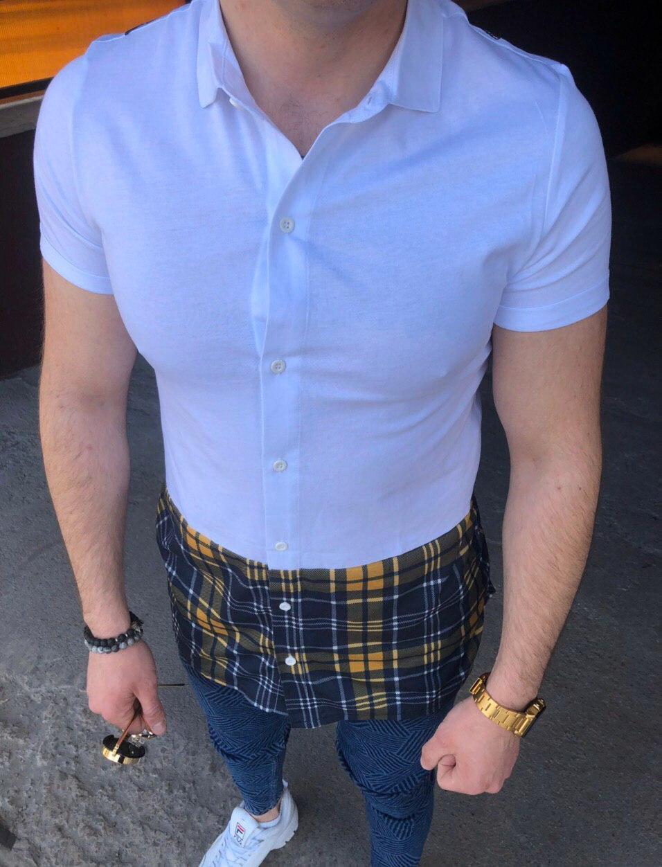 Мужская рубашка короткий рукав белая удлиненная в стиле Off-White
