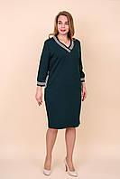Женское повседневное платье больших размеров зеленого цвета. Размеры 52, 54, 56, 58.  Хмельницкий, фото 1