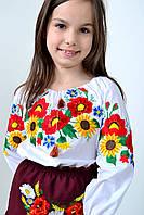 Нарядная сорочка вышиванка для девочки в украинском стиле с насыщенным цветочным орнаментом маки