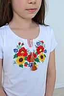 Качественная детская вышитая футболка для девочки с маками