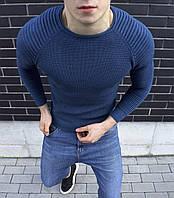 Мужская классическая кофта с рукавом в рубчик джинс