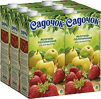 Упаковка сока Садочок Яблочно-клубничный с мякотью 1.93 л х 6 шт (4823063107594)