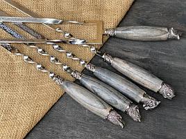 """Шампура подарункові з дерев'яними ручками """"Мисливські"""" + подвійний шампур, в шкіряному сагайдаку"""