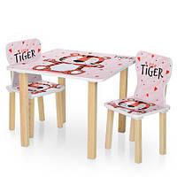 Детский столик деревянный с двумя стульчиками 506-59 Тигр