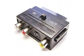 Переходник Скарт - 3 гн. RCA с переключателем