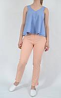 Укороченные лёгкие женские брюки, цвет пудра длина 7/8 12215 MEES Турция, фото 1