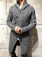 Кардиган мужской длинный вязаный тёмно-серый молодёжный на пуговицах с капюшоном