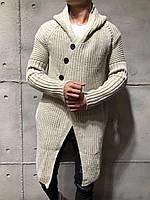 Кардиган мужской длинный вязаный светло-серый молодёжный на пуговицах с капюшоном